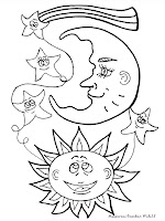 Mewarnai Gambar Bulan, Bintang Dan Matahari