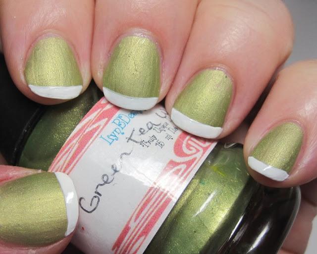 Green Tea Ice Cream mani with a plain white tip