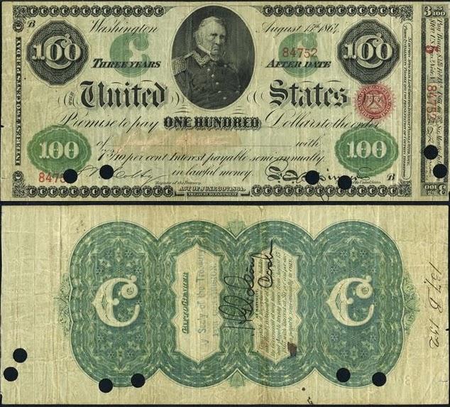 100 долларов США США, 1881-1885 с портретом генерала Уинфилда Скотта