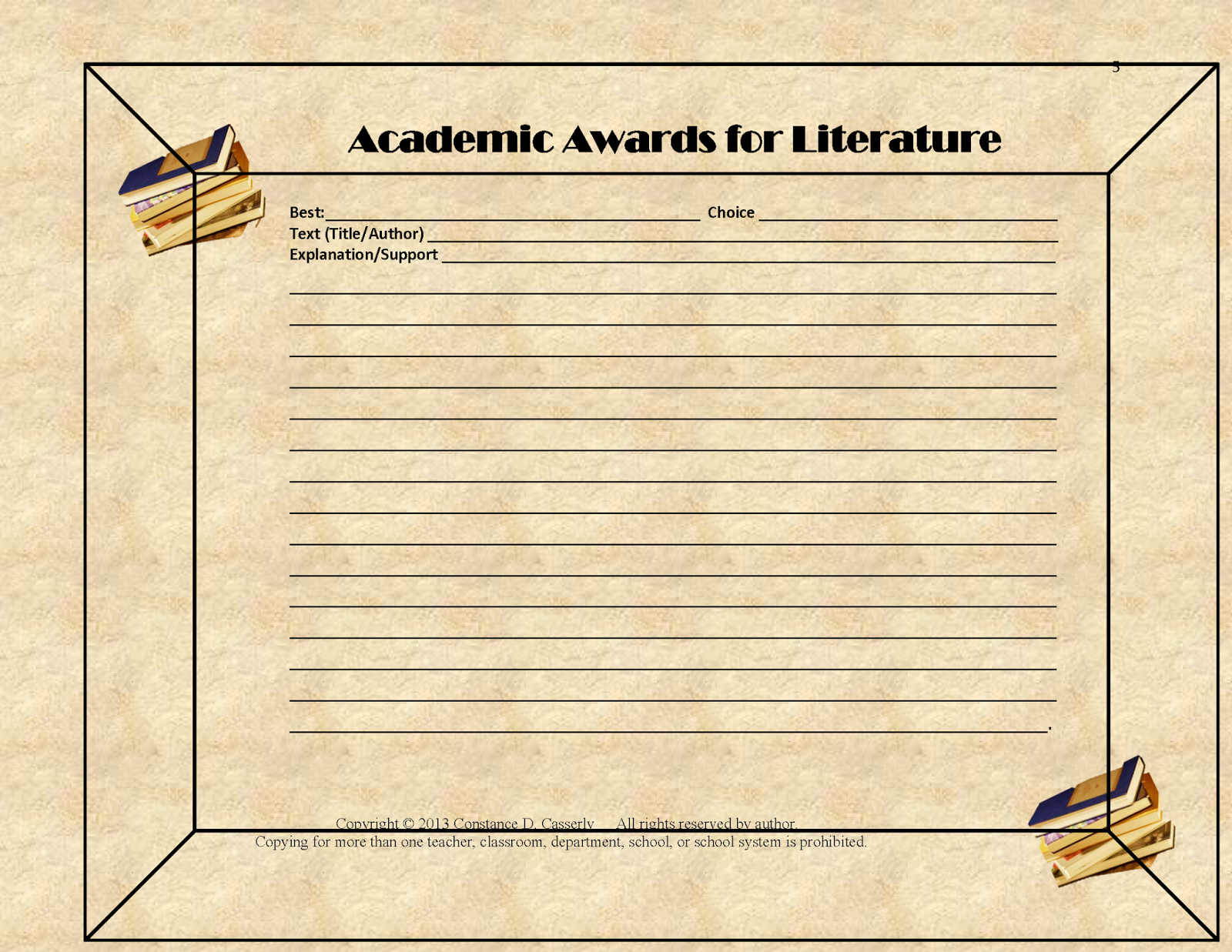 Academic Awards for Literature certificate