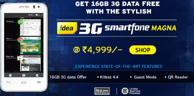 Idea Magna (Android 4.4, 4Gb ROM, Dual Sim, 5MP) with freebies (16 Gb 3G + Free Ideal Tv )  at Rs 4586