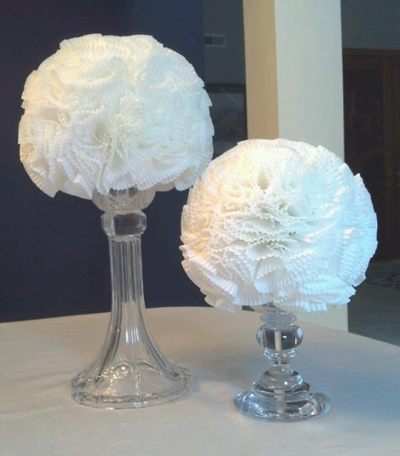 Bridal shower elegant modern white paper decorations