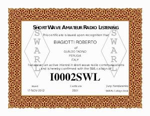 Certificato SWARL