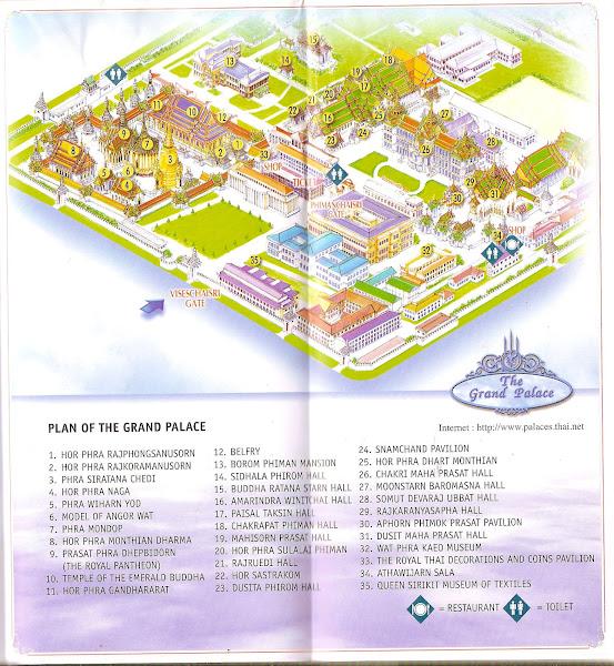 Plano mapa del Palacio Real de Bangkok