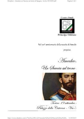 Convegno sulla figura di Amedeo I a Torino