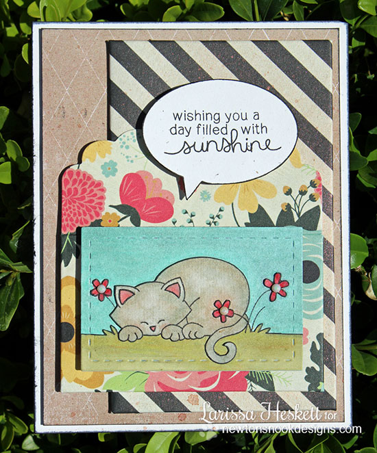 Colorful Kitty card by Larissa Heskett for Newton's Nook Designs - Newton's Daydream Cat stamp set