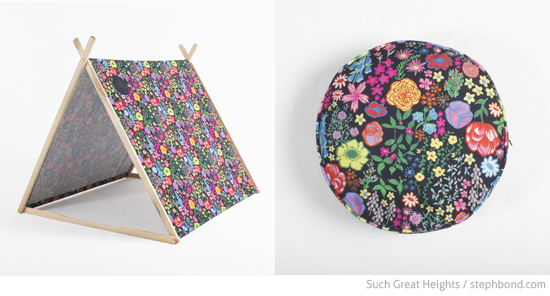 Floral cushion and a-frame tent by Such Great Heights in collaboration with Rawaan Alkhatib