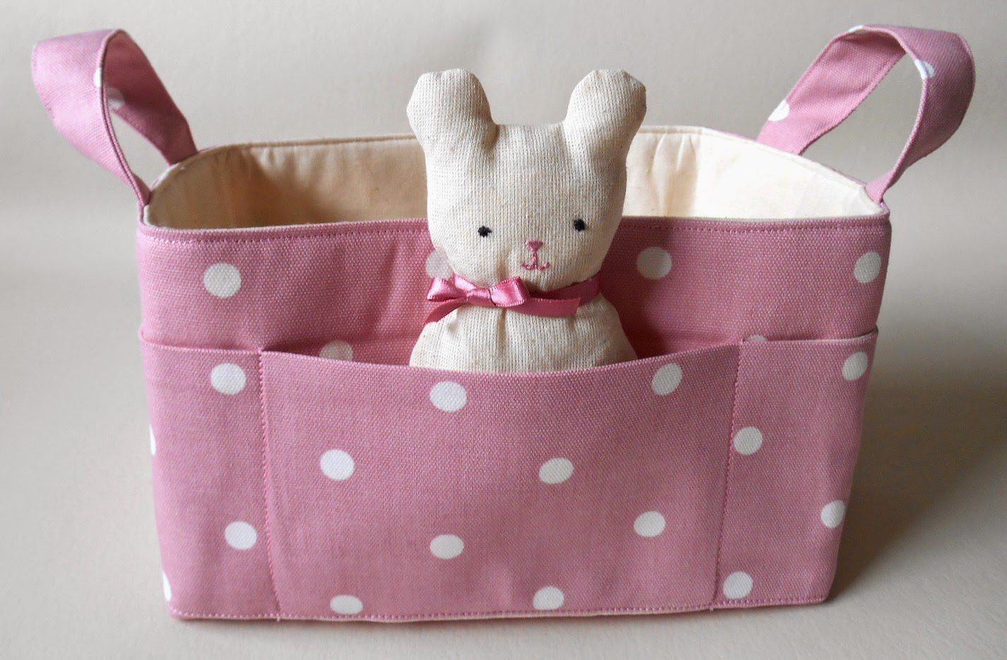 Pink polka basket with Teddy