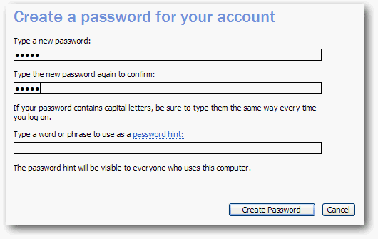 Membuat password Windows Xp