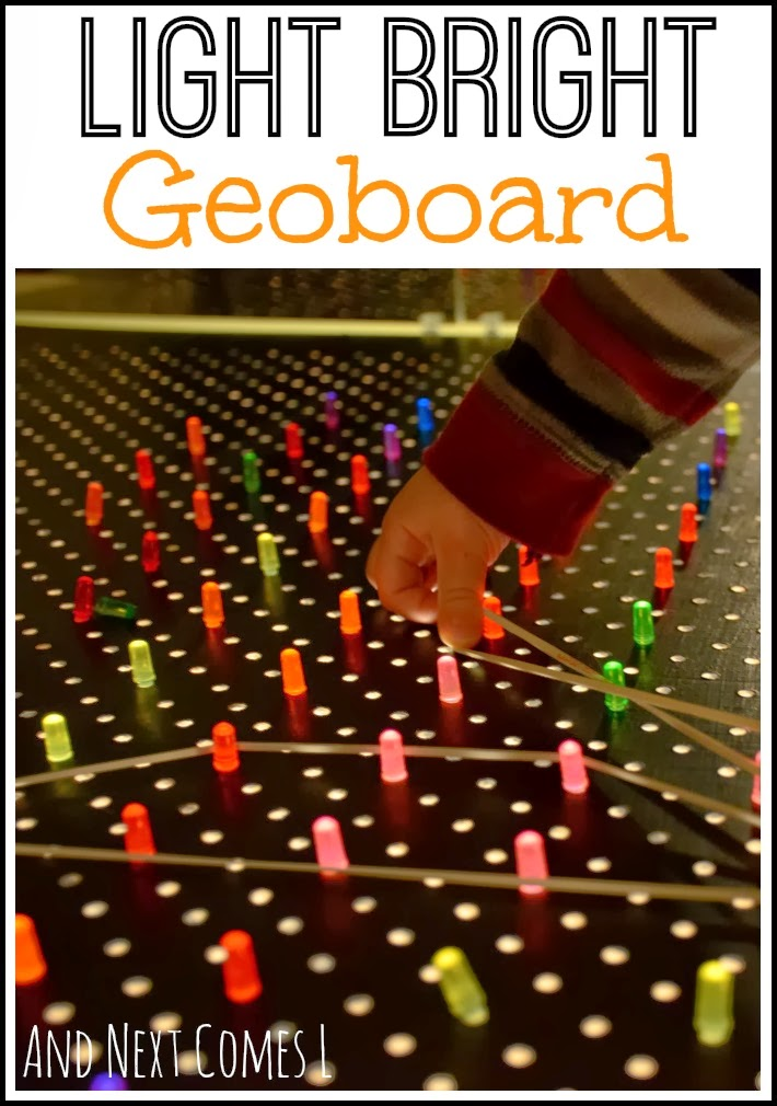 Light bright geoboard for fine motor fun from And Next Comes L