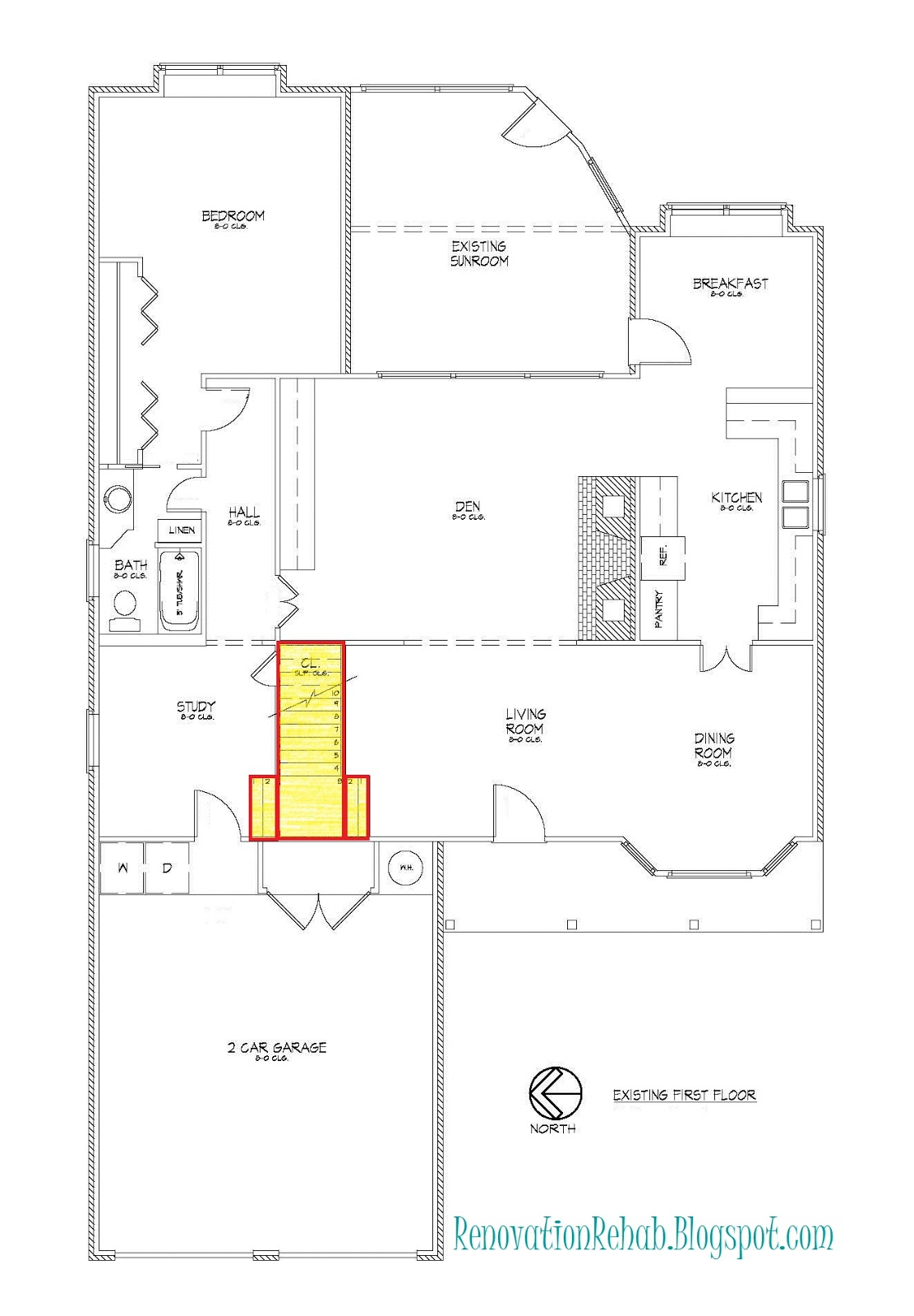 Renovation Rehab Replacing The Staircase From H E Double Hockey Diagram Classic Stairs And Remodeling Here Is Our Original Floor Plan That Shows Location Of Before Started They Are Highlighted In Yellow