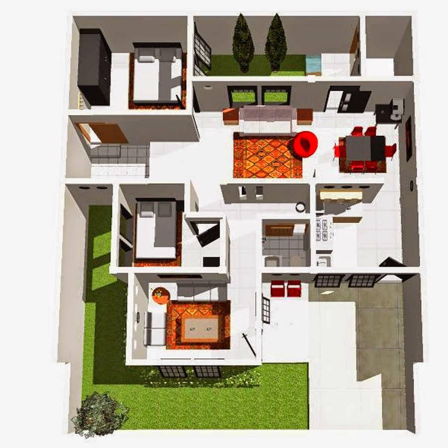 Gambar Denah Rumah Minimalis Modern 1 Lantai Terbaru 2015 Info