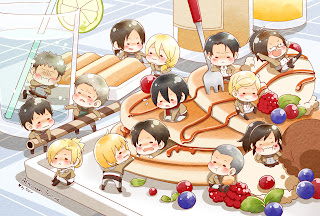 Attack on Titan Shingeki no Kyojin Chibi Character Eating Anime HD Wallpaper Desktop PC Background  '