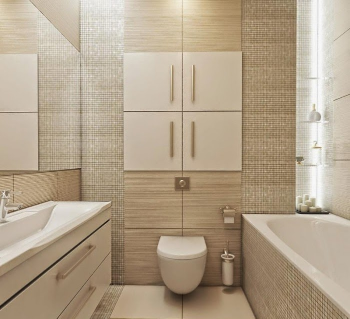 Baños Modernos Beige:Small Bathroom Tile Design Ideas