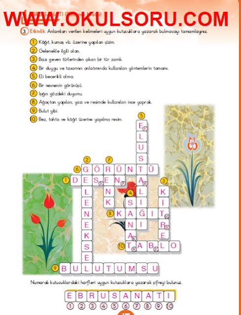 5.Sınıf Türkçe MEB Yayınları Çalışma Kitabı 196.Sayfa Cevapları