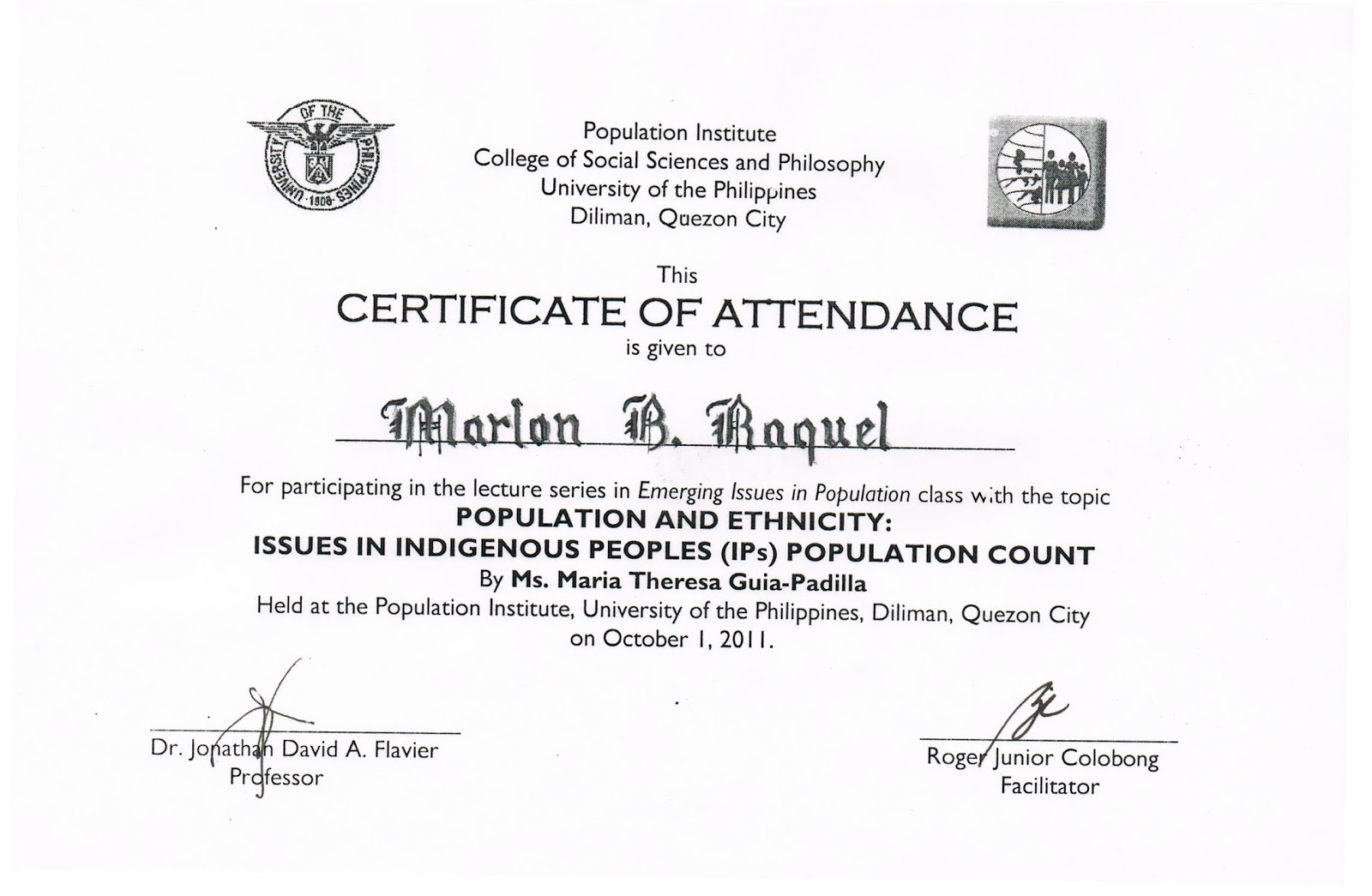 Tidbits and bytes example of certificate of attendance seminar tidbits and bytes example of certificate of attendance seminar on population and ethnicity yadclub Gallery