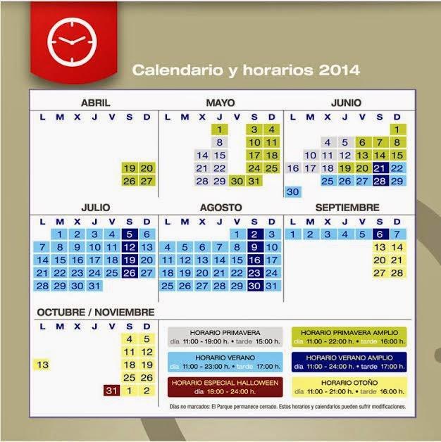 Calendario y horarios 2014 Isla Mágica