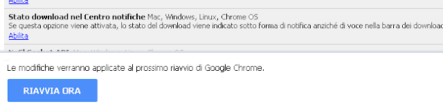 Chrome flags attivare Stato download nel Centro notifiche