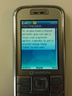 Frozen Pension SMS Text Spam - Cash Payment Scam