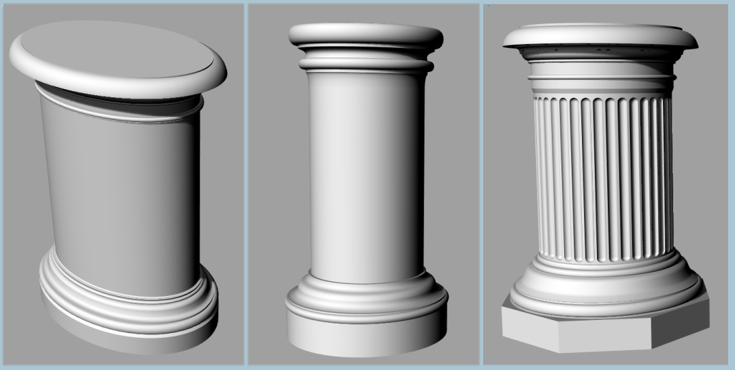 capital cm pillar en columns plaster identical in of with pedestals and pedestal column fluted diameter doric