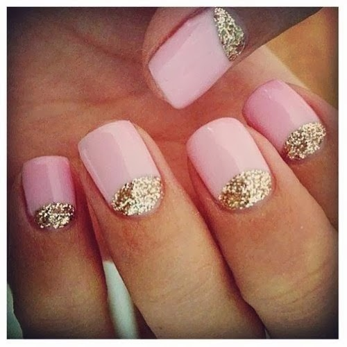 Pink with Gold Glitter Nail Designs