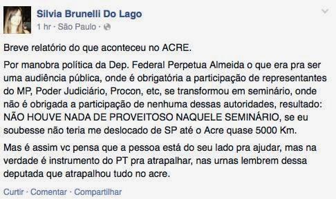 A Dra Sílvia Brunelli do Lago acabou de fazer uma postagem grave contra a deputada Perpétua Almeida
