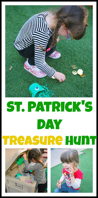 Saint Patrick's Day Treasure Hunt - Hide gold coins in the yard and let the fun begin! #st-patrick's-day #kids