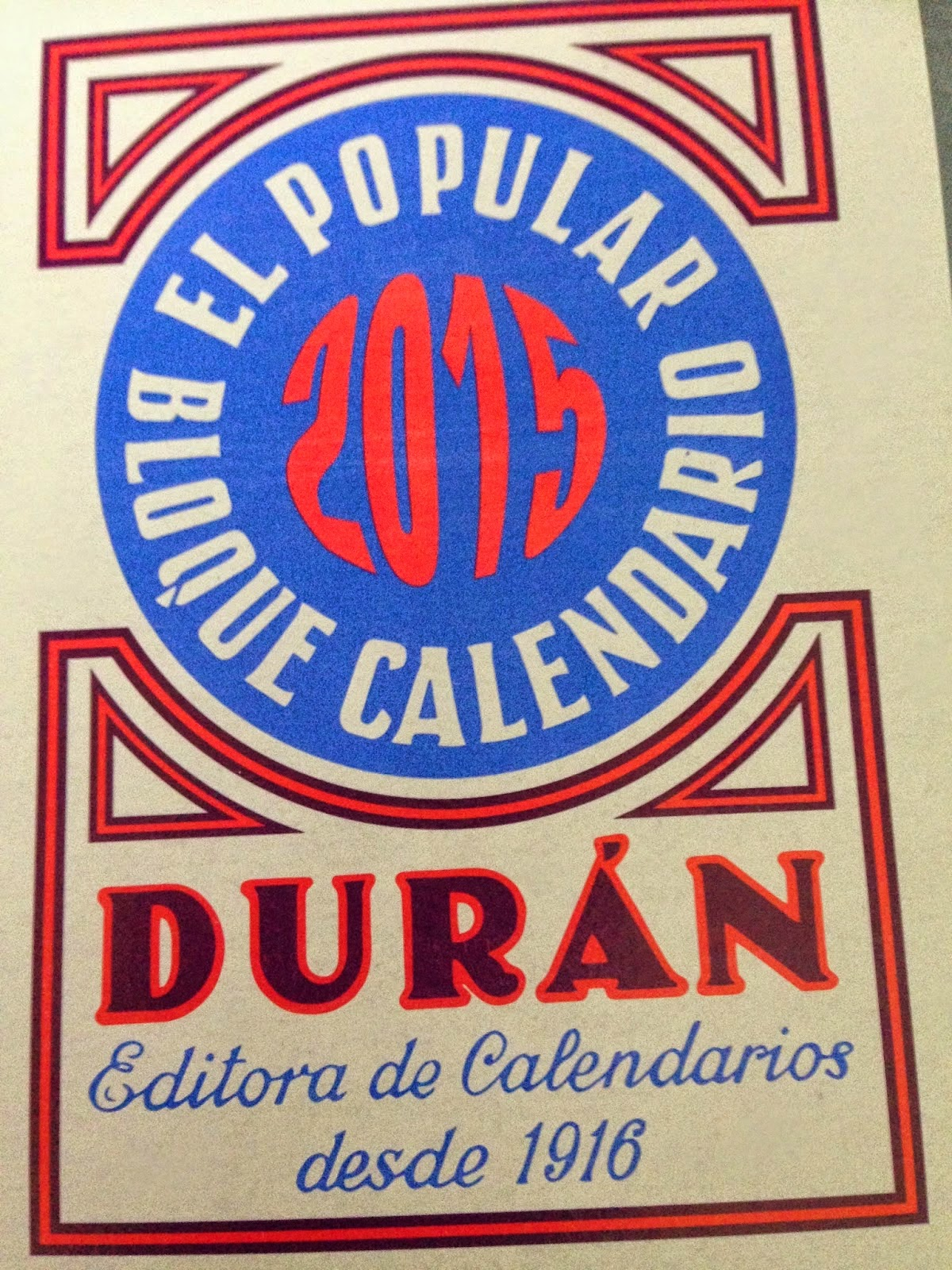 Taco Calendario Durán 2015