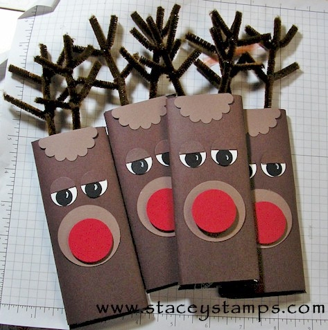 Rudolph the reindeer candy bar wraps via Splitcoast Stampers