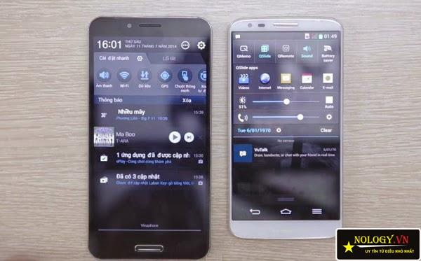 Sky A900 xách tay và LG G2 đọ dáng.