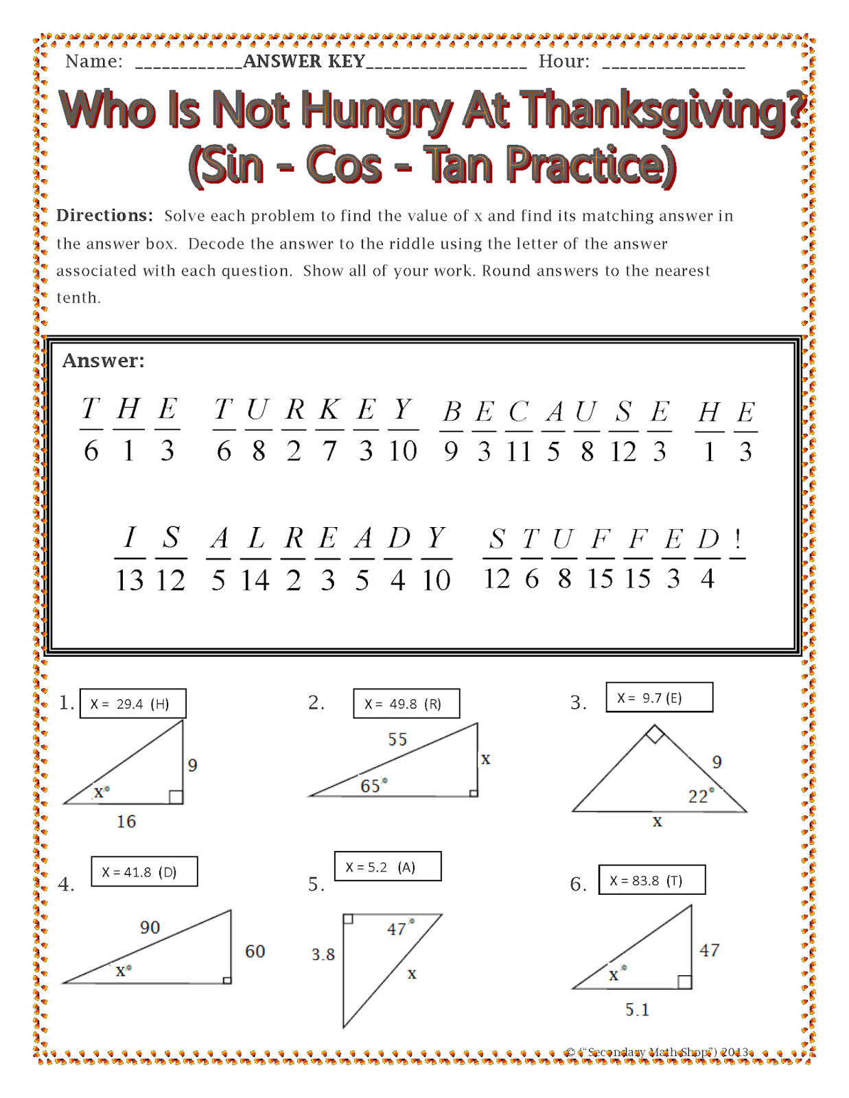 Worksheet #736952: Sin Cos Tan Worksheet – Collection of Sin Cos ...