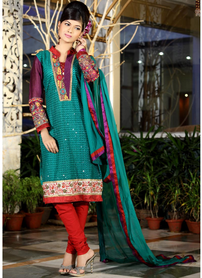 Teal & Red Shade Churidar Suit with Embroidery - Indian Wedding or ...