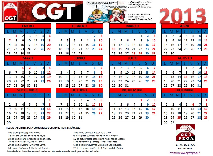Cgtfega calendario laboral de madrid 2013 for Calendario eventos madrid