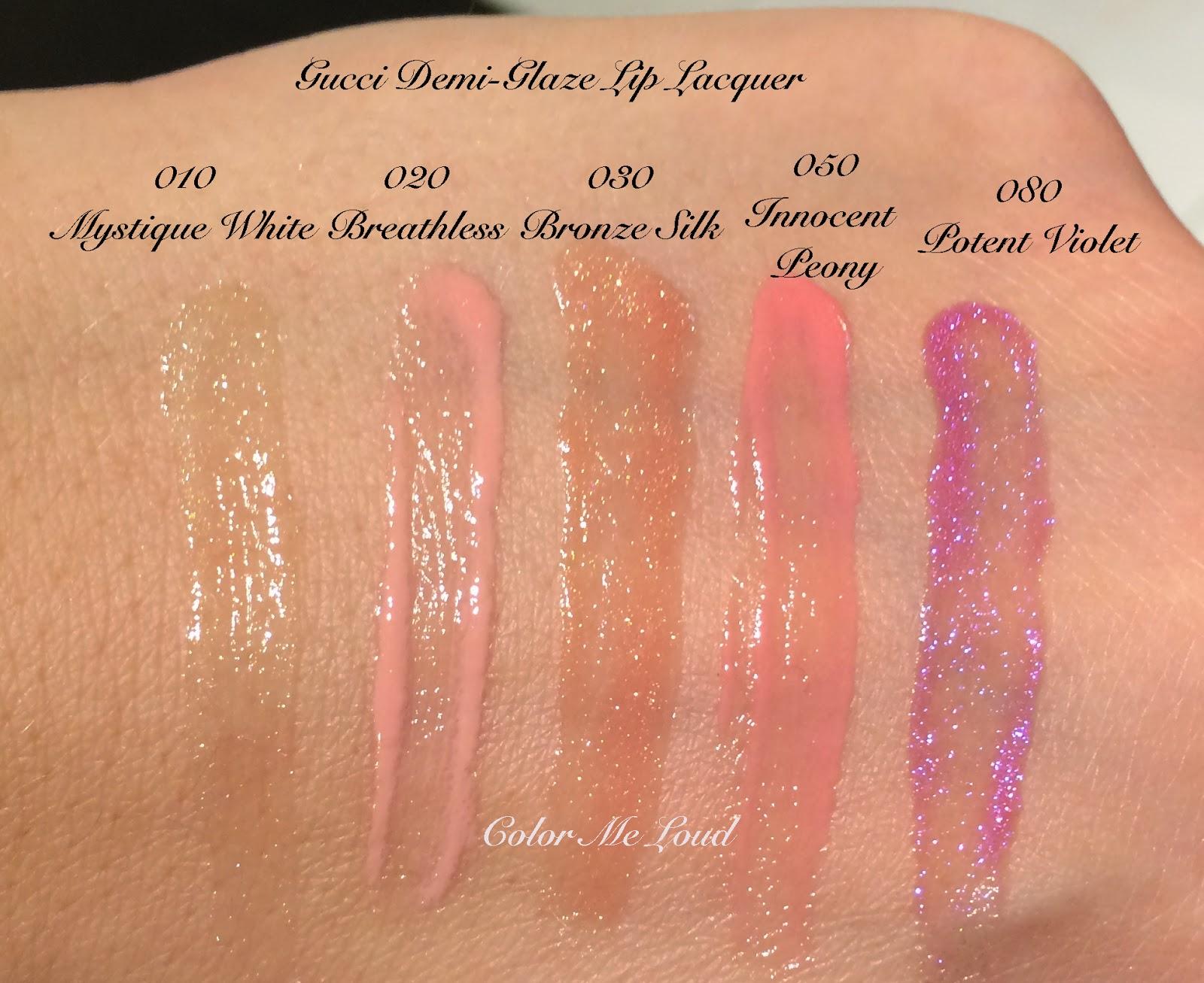 Gucci Demi-Glaze Lip Lacquer Swatches