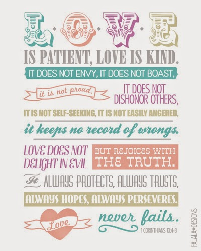 Love Is Patient, Love Is Kind Printable Prayer Card By Falala Designs