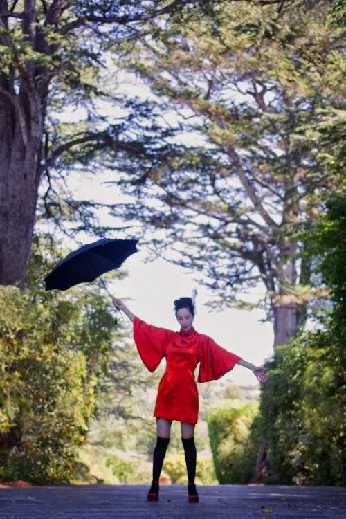 red kimono dress - Autumn Halloween style - catherine masi