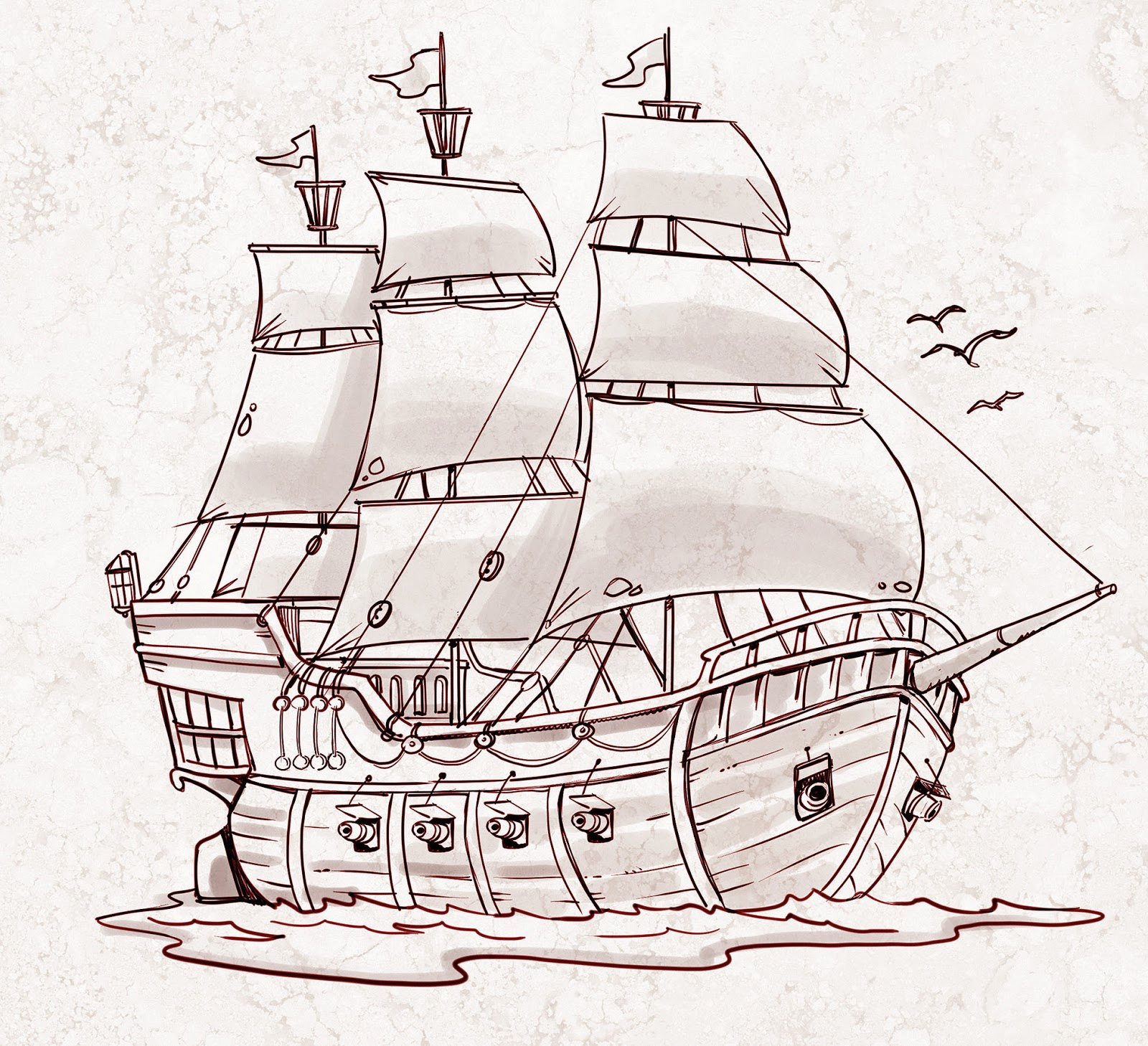 Pirate ship drawing - photo#1