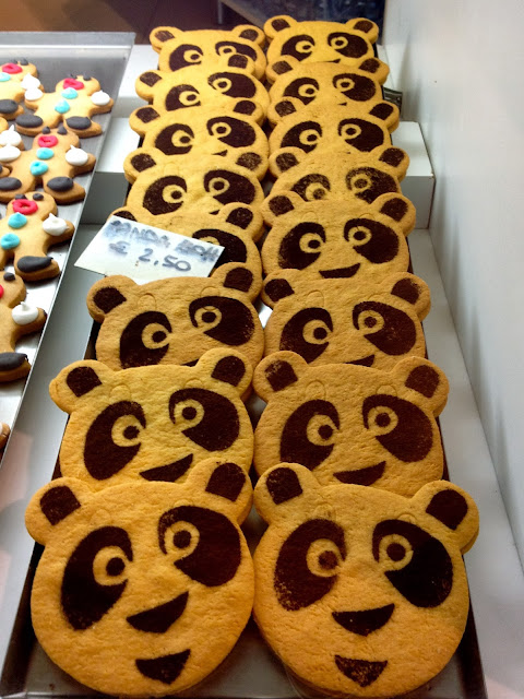 Image of cute panda biscuits in a bakery. Bergamo, Italy.
