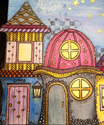 Mixed media, whimsical house, fairy