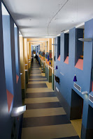 modern office hallway blue brown design