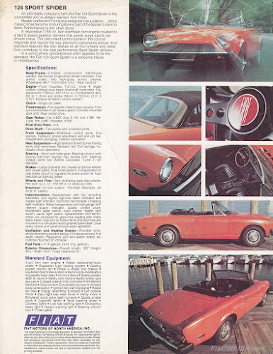 1976 Fiat 124 Spider Specs