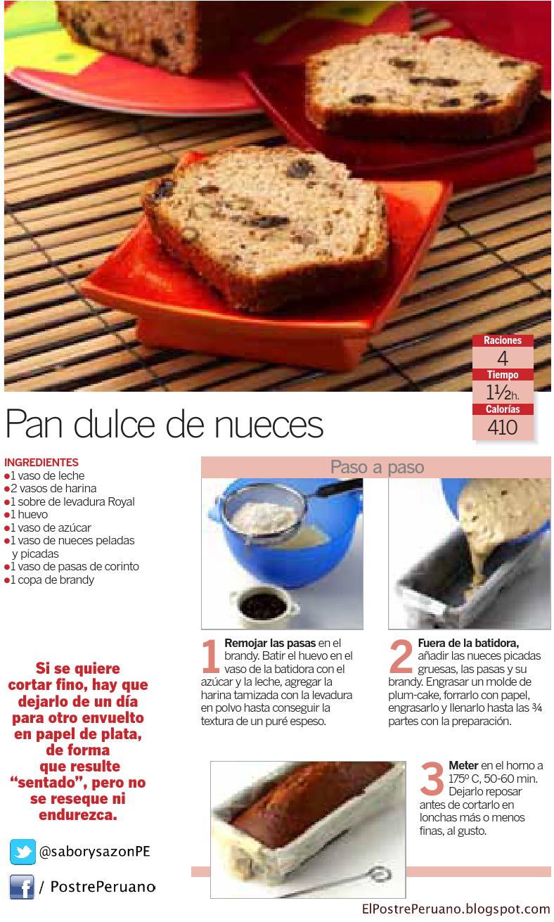 Reposteria - RECETA SENCILLA DE PAN DULCE DE NUECES - RECIPE - CAKE - Receta para 4 porciones