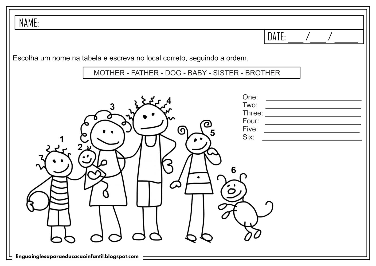 Atividade em inglês - Vocabulário familiar para educação infantil