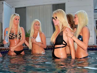 Karissa and Kristina Shannon at bikini pool party