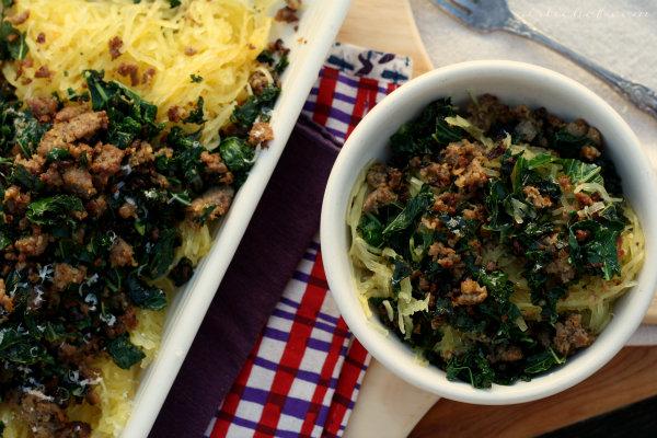 Spaghetti Squash w/ Kale & Sweet Italian Sausage