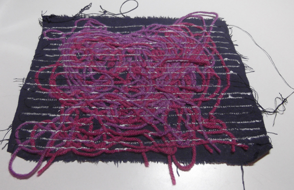 knitting yarn, sewing machine art, pile effect, surface design