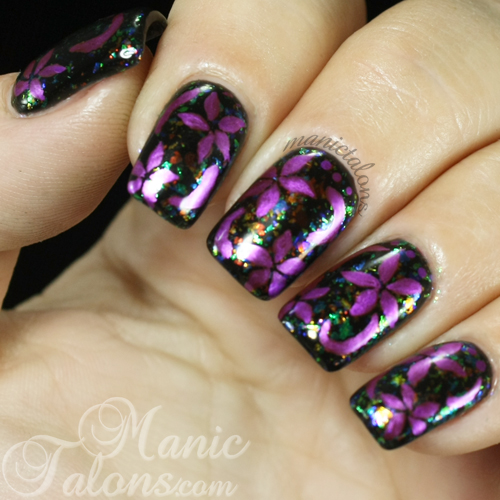 Metallic Flowers over Flakies Nail Art