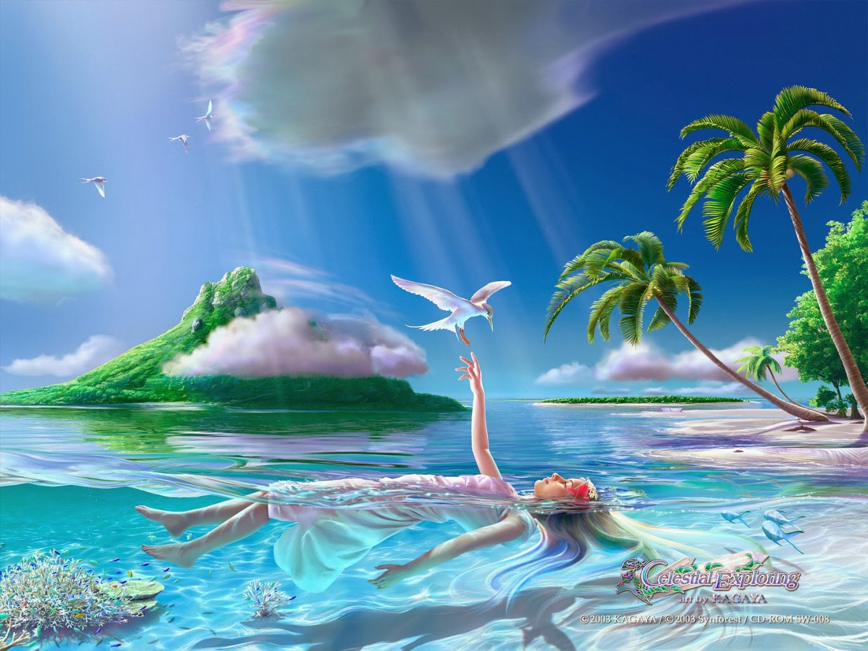 Kagaya Yutaka • Fondo de Pantalla • Paisaje acuatico, palmeras, nubes