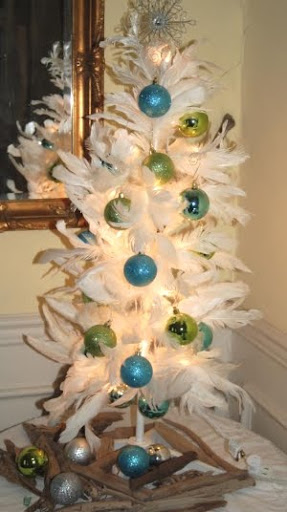 white feather tree with driftwood skirt