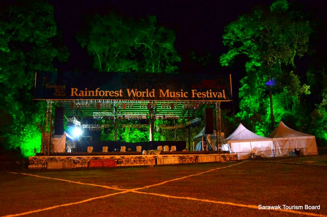 Lighting check at the Jungle Stage of the Rainforest World Music Festival